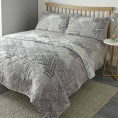Alena Leaf Print Reversible Quilted Bedspread - Silver Grey