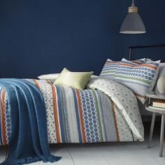 Retrace Stripe Geometric Reversible Duvet Cover Set - Multi