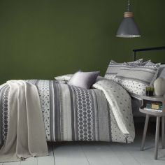 Retrace Stripe Geometric Reversible Duvet Cover Set - Charcoal Grey