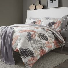 Tropical Leaf Reversible Stripe Duvet Cover Set - Copper