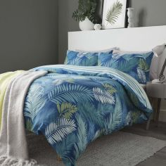Tropical Leaf Reversible Stripe Duvet Cover Set - Teal Blue
