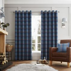 Cameron Tartan Fully Lined Eyelet Curtains - Teal Blue