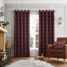 Cameron Tartan Fully Lined Eyelet Curtains - Purple