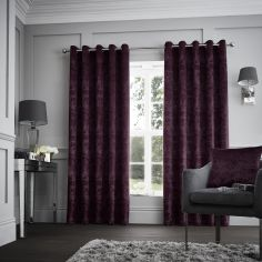 Downton Floral Fully Lined Eyelet Curtains - Purple