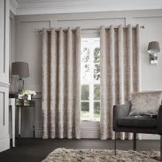 Downton Floral Fully Lined Eyelet Curtains - Mink