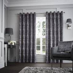 Downton Floral Fully Lined Eyelet Curtains - Graphite Grey