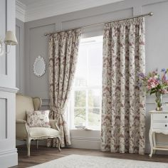 Berrington Floral Jacquard Fully Lined Tape Top Curtains - Purple