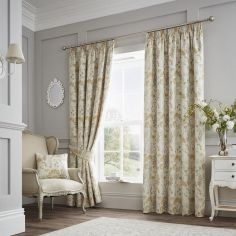 Berrington Floral Jacquard Fully Lined Tape Top Curtains - Ochre Yellow