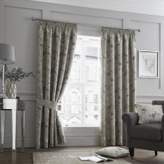 Andria Floral Jacquard Heavyweight Fully Lined Tape Top Curtains - Natural