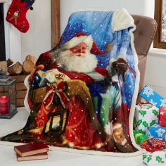 Santa Sleigh Father Christmas Supersoft Blanket Fleece Throw
