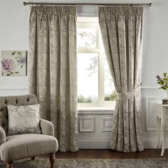 Ilsa Floral Fully Lined Tape Top Curtains - Natural