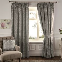Ilsa Floral Fully Lined Tape Top Curtains - Silver