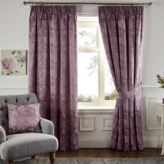 Ilsa Floral Fully Lined Tape Top Curtains - Heather Pink