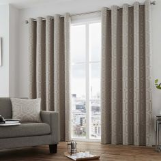 Camberwell Geometric Fully Lined Eyelet Curtains - Stone