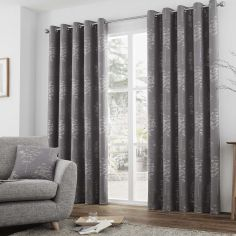 Elmwood Trees Fully Lined Eyelet Curtains - Graphite