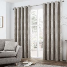 Elmwood Trees Fully Lined Eyelet Curtains - Stone