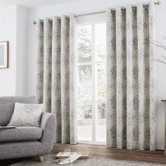 Elmwood Trees Fully Lined Eyelet Curtains - Silver