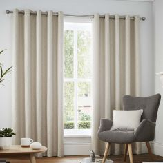 Navo Geometric Fully Lined Eyelet Curtains - Natural Cream
