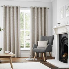 Navo Geometric Fully Lined Eyelet Curtains - Graphite