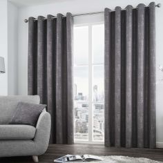 Solent Metallic Fully Lined Eyelet Curtains - Graphite