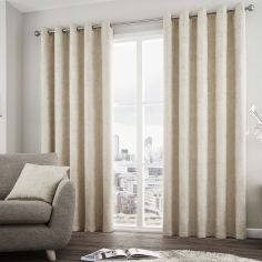 Solent Metallic Fully Lined Eyelet Curtains - Natural Cream