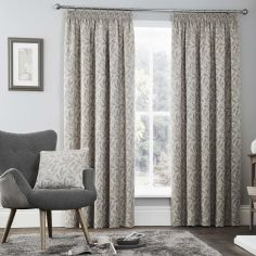 Valda Jacquard Fully Lined Tape Top Curtains - Graphite