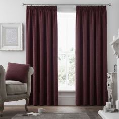 Voysey Damask Fully Lined Tape Top Curtains - Ruby Red