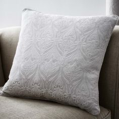 Voysey Damask Cushion Cover - Silver
