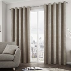 Solent Metallic Fully Lined Eyelet Curtains - Stone