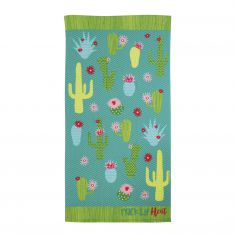 Microfibre Cactus Beach Towel - Blue Green