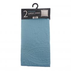 Embossed Two-Pack Cushion Covers - Teal Blue