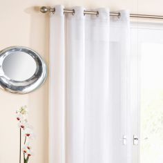 White Glitter Ring Top Voile Curtain Panel