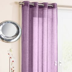 Purple Glitter Ring Top Voile Curtain Panel