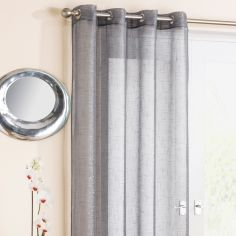 Silver Glitter Ring Top Voile Curtain Panel
