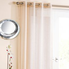 Cream Glitter Ring Top Voile Curtain Panel
