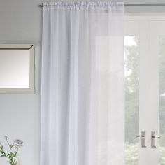 Jewel Sparkle Slot Top Voile Curtain Panel - White
