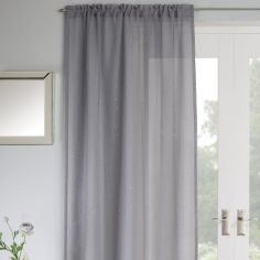 Jewel Sparkle Slot Top Voile Curtain Panel - Grey