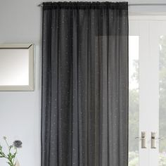 Jewel Sparkle Slot Top Voile Curtain Panel - Black