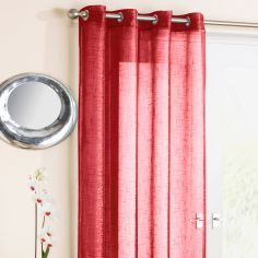 Red Glitter Ring Top Voile Curtain Panel