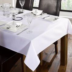 Trattoria Plain Linen Look Tablecloth - White
