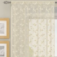 Evie Floral Voile Curtain Panel - Natural Cream