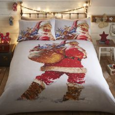 Vintage Santa Christmas Duvet Cover Set