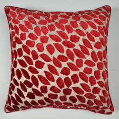 Abbot Velvet Leaf Reversible Cushion Cover - Red