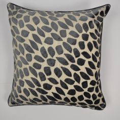 Abbot Velvet Leaf Reversible Cushion Cover - Slate Grey