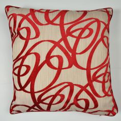 Beckley Swirls Velvet Cushion Cover - Red