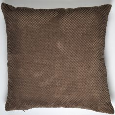 Plain Chenille Spot Cushion Cover - Chocolate Brown