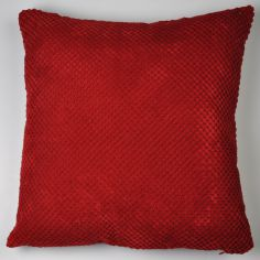 Plain Chenille Spot Cushion Cover - Red