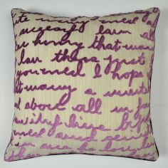 Stratton Velvet Script Cushion Cover - Cream Purple