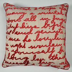 Stratton Velvet Script Cushion Cover - Cream Red