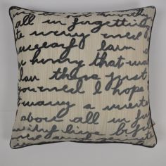 Stratton Velvet Script Cushion Cover - Cream Slate Grey